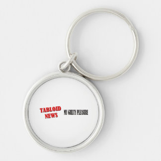 Tabloid News Silver-Colored Round Keychain