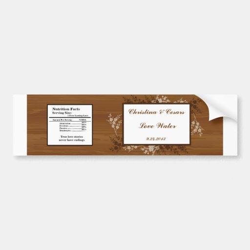 Tablón de madera Flo que se casa floral de la etiq Pegatina Para Auto