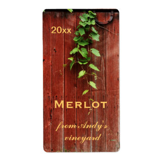 tablones de madera del granero rojo rústico con la etiqueta de envío