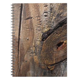 Tablones de madera nudosos libreta