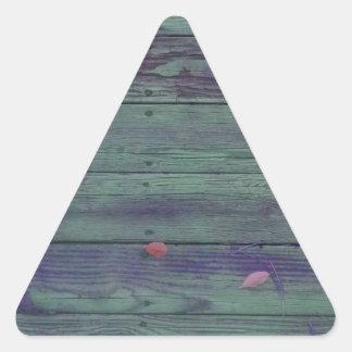 Tablones de madera reclamados pegatina triangular