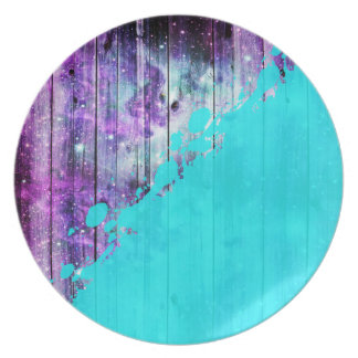 Tablones púrpuras, azules, y del trullo y salpicad platos para fiestas