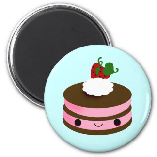 Tabu Japan Cake Line- Pink 2 Inch Round Magnet
