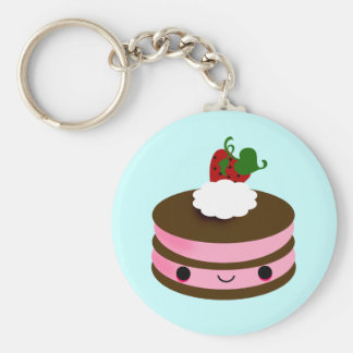 Tabu Japan Cake Line- Pink Basic Round Button Keychain
