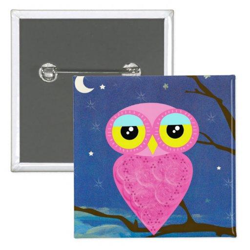 Tabu Japan Owl Square Pin