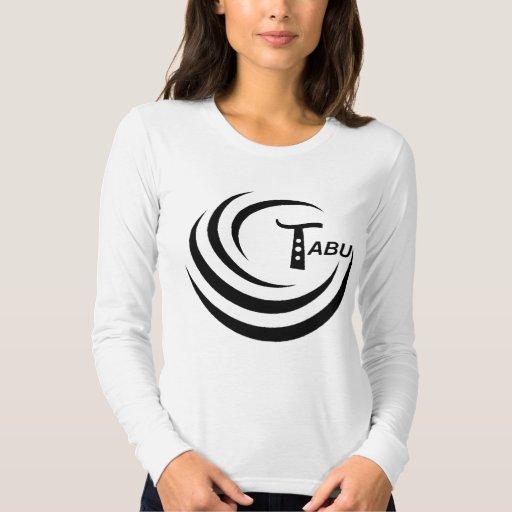 Tabu Ladies Long Sleeve Black Logo Abstract Back Tee Shirt