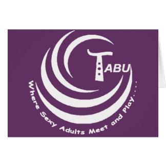 Tabu logo White with name and slogan LARGE Greeting Card
