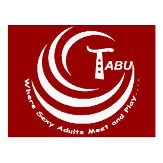 Tabu logo White with name and slogan LARGE Postcard
