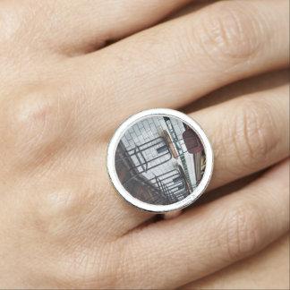 taburete de madera del diseño del metal anillos