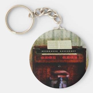 Taburete del órgano y del eslabón giratorio llavero redondo tipo pin