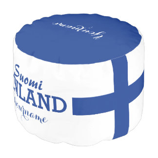 Taburete finlandés del personalizado de la bandera puf redondo