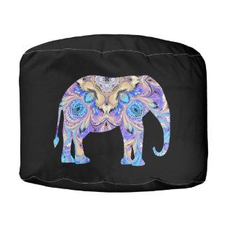Taburete púrpura azul del elefante del puf redondo