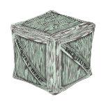Taburete verde del cubo del cajón de madera puff cuadrado