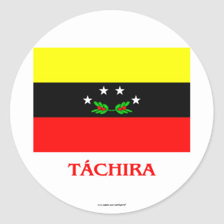 Táchira Flag with Name Classic Round Sticker