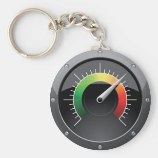 Tachometer Basic Round Button Keychain