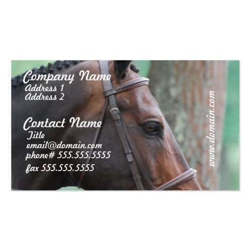 Tacked dark bay horse business cards for Horse business cards