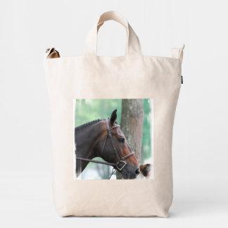 Tacked Dark Bay Horse Duck Canvas Bag