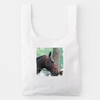 Tacked Dark Bay Horse Reusable Bag