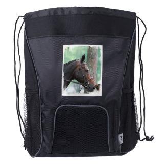 Tacked Dark Bay Horse Drawstring Backpack