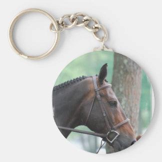 Tacked Dark Bay Horse Keychain