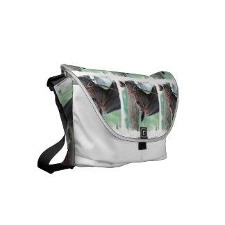 Tacked Dark Bay Horse Small Messenger Bag
