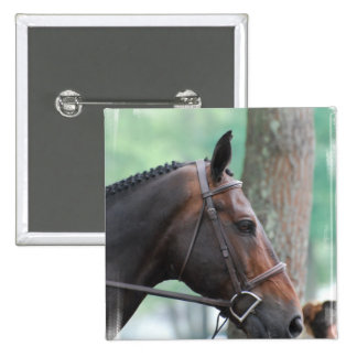 Tacked Dark Bay Horse Pin