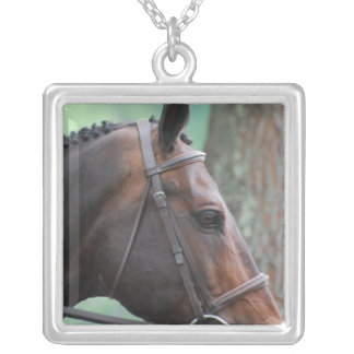 Tacked Dark Bay Horse Sterling Silver Necklace