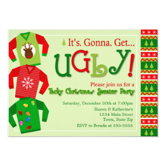 tacky christmas sweater party invitations  announcements  zazzle, Party invitations