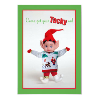 Tacky Christmas Sweater Party Invitation Funny Elf