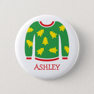 Tacky Christmas Sweater Party Name Tags Pinback Button