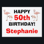 """Tacky Happy Birthday Pink Flamingo Bird Custom Age Sign<br><div class=""""desc"""">Tacky Happy Birthday Pink Flamingo Funny Yard Sign. Don&#39;t ya love it! Sneak and post this in the front yard for everyone to see. YARD STAKE HOLDER can be purchased with the sign, - it&#39;s cheap. And the must-have flamingos make it the tackiest. Flamingos are on both sides! Four on...</div>"""