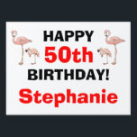 "Tacky Happy Birthday Pink Flamingo Bird Custom Age Sign<br><div class=""desc"">Tacky Happy Birthday Pink Flamingo Funny Yard Sign. Don&#39;t ya love it! Sneak and post this in the front yard for everyone to see. YARD STAKE HOLDER can be purchased with the sign, - it&#39;s cheap. And the must-have flamingos make it the tackiest. Flamingos are on both sides! Four on...</div>"