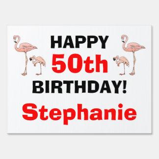 Tacky Happy Birthday Pink Flamingo Bird Custom Age Signs