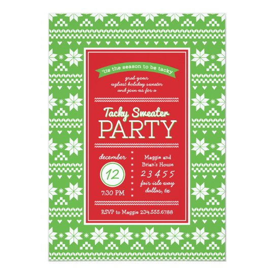 Tacky Sweater Christmas Party Invitation Zazzle Com