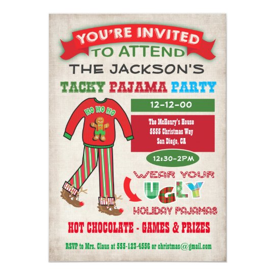 tacky ugly christmas pajamas party invitation - Christmas Pajama Party