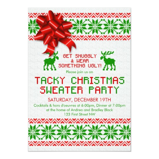 ugly sweater party invitations free printable tacky ugly christmas sweater party invitation zazzlecom