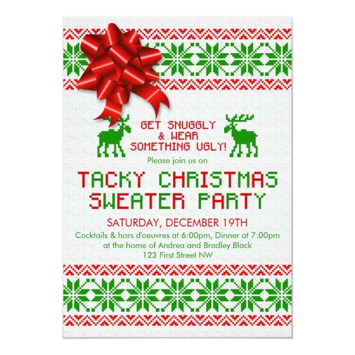 Tacky Christmas Sweater Party Invitation Templates - Lera Sweater