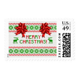 Tacky Ugly Christmas Sweater Red Green Bow Xmas Postage