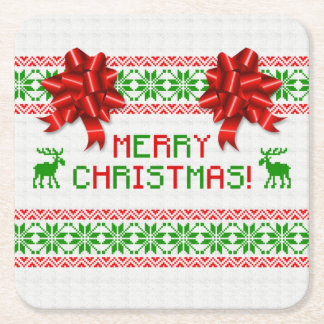 Tacky Ugly Christmas Sweater Red Green Bow Xmas Square Paper Coaster