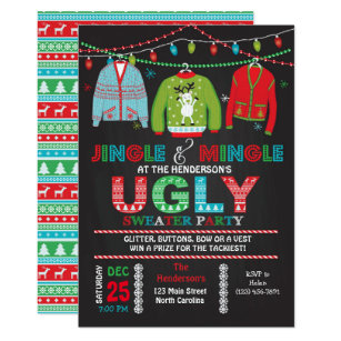 0c298c3d2eb Tacky Ugly Sweater Christmas Party Invitation