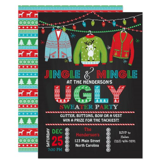 Tacky Ugly Sweater Christmas Party Invitation Zazzle Com