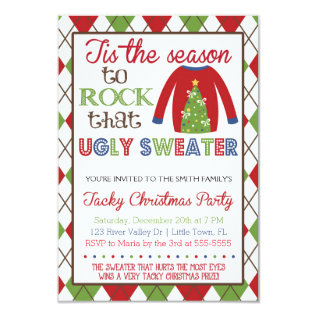 Tacky Ugly Sweater Holiday Party Card at Zazzle