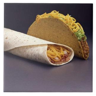 Taco and bean burrito ceramic tile