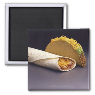 Taco and bean burrito refrigerator magnet