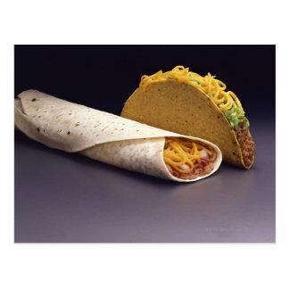 Taco and bean burrito postcard