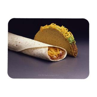 Taco and bean burrito rectangular photo magnet