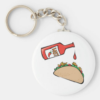 Taco and Hot Sauce Basic Round Button Keychain