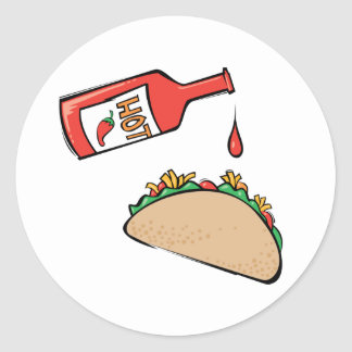 Taco and Hot Sauce Classic Round Sticker
