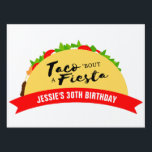 "Taco &#39;Bout A Fiesta Sign<br><div class=""desc"">Add a custom touch to your taco theme fiesta decor! The Taco &#39;Bout A Fiesta Yard Sign will help you set the tone for a fun Mexican fiesta. This yard sign features a tasty taco with all the toppings. Don&#39;t forget to tie the taco theme together with coordinating party product...</div>"