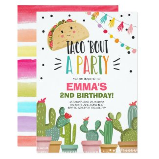 Taco Bout a Party Girl Pink Fiesta Birthday Cactus Invitation